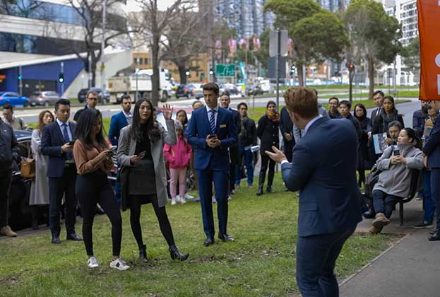 North Melbourne retail draws a crowd at auction