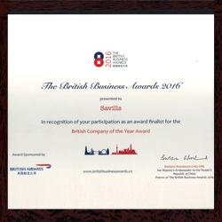 Savills lọt vào Top 5 Công ty Anh quốc của năm tại Giải thưởng BBA Awards 2016